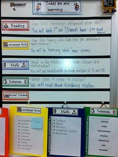 Objective board & vocab clipboards - The objectives board would be good to focus our homeschool on our weekly/monthly learning objectives; I too like the vocab clipboards. Classroom Organisation, Teacher Organization, Teacher Tools, School Classroom, School Fun, Classroom Management, Teacher Resources, Classroom Ideas, Organizing