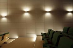 Glamorous office leather beautiful wall indoor luxury tiles : Beautiful Luxury Indoor Design Interior With Elegant White Leather Wall With Shiny Wall And Floor Lights With Green Chairs