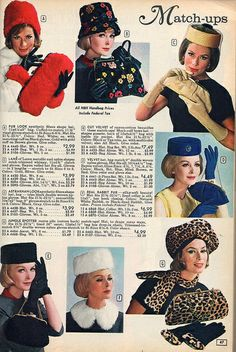 Matching hats, purses, gloves and other accessories from 1964. I'd totally wear these styles today!