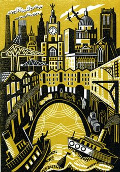 'Landing' by British artist Clare Curtis. Linocut, edition of x 19 cm. via Bircham Gallery Building Illustration, Illustration Art, Posca Art, Collagraph, Linoprint, Mellow Yellow, Bright Yellow, Wood Engraving, Tampons