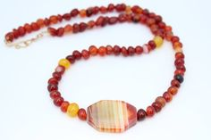 Red Agate with Stone Pendant Necklace Set by CMommyDesigns on Etsy