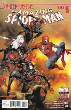 Spider-Verse Tie-In ,Spider-Verse, pt. 5 , Written by Dan Slott , Art and Cover by Olivier Coipel and Giuseppe Camuncoli, THE FINAL BATTLE BEGINS HERE! EVERY SPIDER-MAN EVER MUST FIGHT AND NO SPIDER I