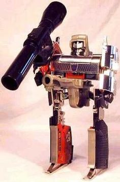 Megatron (Transformers)- Yes my friends, a toy robot you could literally knock off a liquor store with. They truly don't make 'em like this anymore. Megatron was arch nemesis of Optimus Prime. While Optimus changed into a nice innocent truck, Megatron changed into a super realistic .380 semi auto.