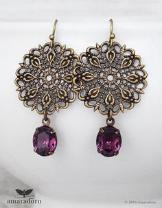 Violet Rhinestone Earrings, Antiqued Bronze Filigree Earrings made with Swarovski Crystals, Crystal Drop Earrings, Vintage Chic, Handmade UK