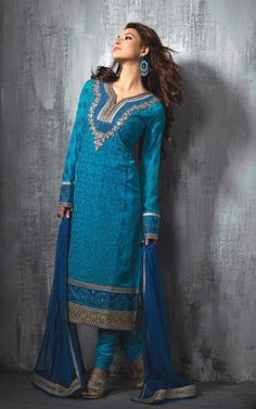 BLUE GEORGETTE EMBROIDRED SALWAR KAMEEZ - SLF 9661