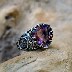 "Sterling Silver Amethyst Ring with 6 Emeralds ""Portal"" MADE TO ORDER, antique amethyst engagement ring, triangle ring, celtic symbol ring by BlackTreeLab on Etsy"