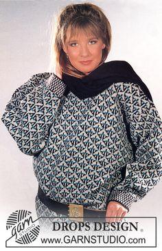 """DROPS trui met patroon van """"Karisma Superwash"""". Maat S-L. ~ DROPS Design"""