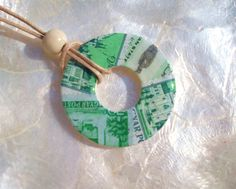 UPCYCLED RECYCLED REPURPOSED Jewelry Washer Necklace  -  Green Vintage Postage Stamps. $12.00, via Etsy.