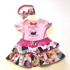 Cupcake Onesie, Ruffle Skirt and Headband