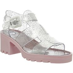 Sandals By JuJu.  Kyra heeled sandal.  Multi strap, peep toe.  Jelly upper.  Glitter pale pink colourway.  100% recyclable materials.  Made in the UK.