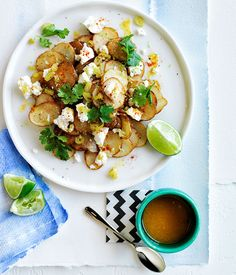 Warm golden potato salad with lime butter and coriander. tried and tested. great taste, a little time conusming and maybe ill try it with oven baked potato wedges instead of frying next time.