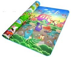 Double-side Waterproof Baby Play Mat Soft Environment-friendly Toddler Play Mat 200CM x 180CM x 0.5CM(Dinosaur + Zoo)