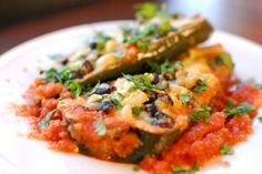 i like that this recipe has a sauce.  stuffed poblanos.