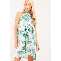 Pretty Little Girl Palm Tree Dress (140 BRL) ❤ liked on Polyvore featuring dresses, palm tree dress, white dress, mock neck dress, palm leaf print dress and palm print dress