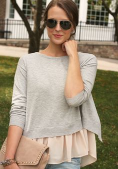 Cute layered look for fall + great way to wear a cropped sweater and cover midriff Girlie Style, Style Me, Passion For Fashion, Love Fashion, Fashion Tips, Fashion Ideas, Womens Fashion, Penny Pincher Fashion, Vogue