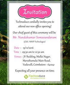 invitation for opening of new office