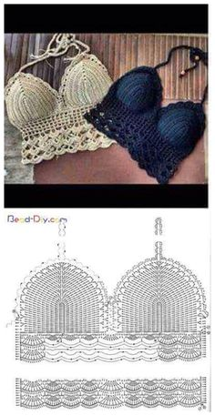 Bikini crochet met diagram