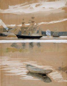 The Athenaeum - Sailing Ships on Haiko Bay (Albert Edelfelt - ) Vincent Van Gogh, Legion Of Honour, Z Arts, Great Paintings, Beautiful Textures, Helsinki, Art Techniques, Art Boards, Fine Art Prints