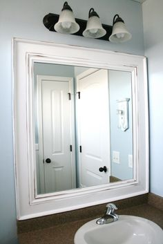 DIY Framed Mirror Tutorial~ Thick Baseboard, And Some Corner Round Molding.  Cut A Frame, After Measuring The Mirror. Using 45 Degree Anglesattached The  ...