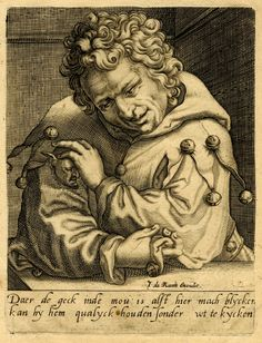 """engraved c.1650 by Anthonie de Later, published by Iohannes de Ram, Amsterdam. fool with miniature fool erupting from his sleeve. """"de zot uit de mouw laten kijken"""" [to let the fool peep out of one's sleeve] was a 16C Dutch idiom meaning, 'to behave like a fool'"""