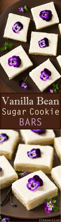 Vanilla Bean Sugar Cookie Bars - these melt in your mouth! My new favorite sugar cookie bar!