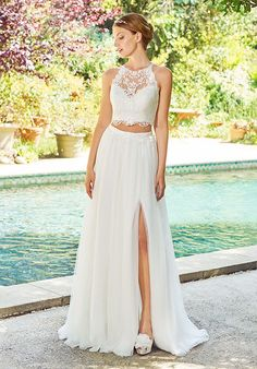 Fascinating Tulle Jewel Neckline Two-piece A-line Wedding Dress With Beaded Lace Appliques dresses two piece tulle Wedding Dress Simple, Fascinating Tulle Jewel Neckline Two-piece A-line Wedding Dress With Beaded Lace Appliques Lauren Bridal Val Stefani Wedding Dresses, Wedding Dresses For Girls, Bridesmaid Dresses, Prom Dresses, 2 Piece Wedding Dress, Boho Wedding Dress, Wedding Gowns, Wedding Robe, Baby Wedding