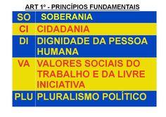 """Princípios Fundamentais. Feito por mim. Lembrar do acróstico: """"SO-CI-DI-VA-PLU"""" Periodic Table, Leis, Citizenship, Study Tips, Pageants, Periotic Table, Wreaths"""