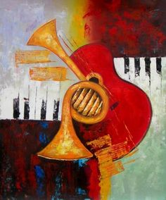 Wall Art finished in USA History: Central Musical is a hand finished canvas oil painting. An expressionistic notion of instrumental form, this attractive oil pa