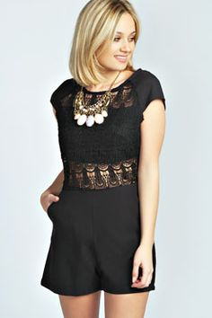 Anabel Crochet Front Capped Sleeve Playsuit at boohoo.com
