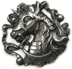 Old French Metal Button Detailed Horse in Jousting Armor Design - 1 & 3/16 inch