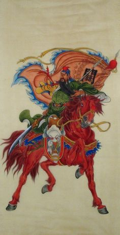 Guan Gong Riding Figure Fine-brush Chinese Ink Brush Painting, 140x68cm Chinese wall scroll painting Fine art Artist original works of handwriting Rice paper Traditional painting. USD $ 787.00