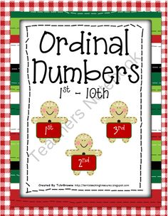 Free Christmas Ordinal Numbers Activities from Terri'sTeachingTreasure on TeachersNotebook.com (16 pages)