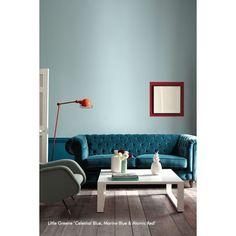 Peinture Little Greene - Celestial Blue, Marine Blue & Atomic Red #paint #deco #littlegreene http://www.papierspeintsdirect.com/peintures.html
