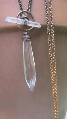 Custom Made Long Necklace Brass Chain Clear Quartz Wire Wrap Crystal Necklace Rustic Quartz Pendant