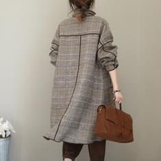Fashion Quilted Gray Plaid Woolen Long Coat For Women - Women's fashion - Womens Fashion Casual Summer, Fall Fashion Outfits, Fashion Coat, Women's Fashion, Stylish Clothes For Women, Coats For Women, Modele Hijab, Sewing Blouses, Iranian Women Fashion