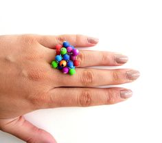 Beaded neon   ring by Vesperto on Etsy, £10.20
