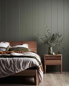 decor 1950 to decor your bedroom decor target decor colours decor ideas vsco decor natural decor canada decor trends 2019 Green Bedroom Walls, Green Accent Walls, Accent Wall Bedroom, Bedroom Colors, Bedroom Sets, Master Bedroom, Bedroom Decor, Nature Bedroom, 70s Bedroom