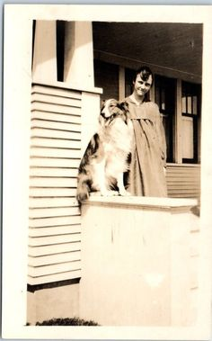 Vintage RPPC Real Photo Postcard COLLIE DOG & Woman on House Porch c1920s Unused | Collectibles, Postcards, Real Photo | eBay!