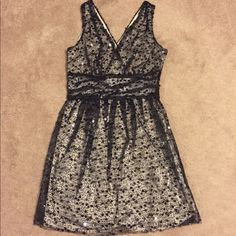 """Sequin Overlay A-line dress Purchased from Modcloth and has hung in my closet never worn for years. How embarrassing! After two kids, now I don't fit in it...my loss is your gain. Black sequin overlay with a nude sheath. Dress measures about 33 1/2"""" from shoulder to hem. Tags still attached! ModCloth Dresses"""
