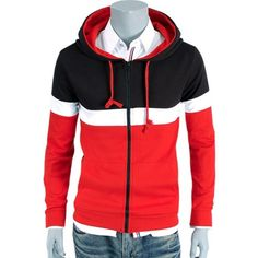 27.06$  Buy here - http://dihm6.justgood.pw/go.php?t=200854002 - Color Block Splicing Zip Up Hoodie