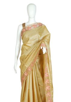 Beige Tussar Silk Saree with Pink Cut Work