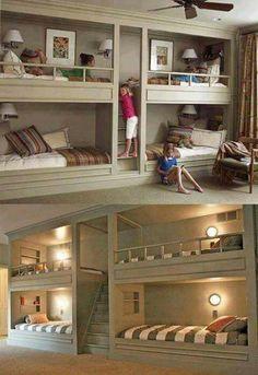 Excelente forma de acomodar 4 camas en una pared con 2 cuchetas