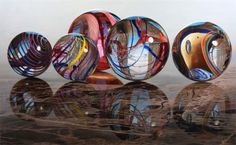 """Believe it or not, this is not digital art. This is an oil painting on aluminum by photorealist oil painter, Steve Mills.""""Marbles on Marble""""   Copyright © 2010 Steve Mills Art, Inc."""