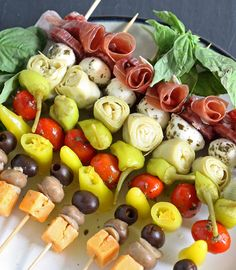 These antipasto skewers are the perfect lazy day appetizer. Easily be made from store bought pickled items or from your pantry stash!