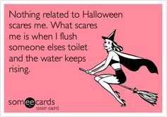 Nothing related to Halloween scares me. What scares me is when I flush someone elses toilet and the water keeps rising.