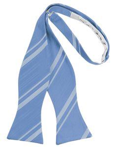 Cornflower Striped Satin Self-Tie Formal Bow Tie