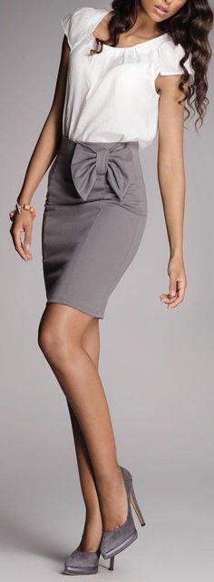 Gray Bow Pencil Skirt