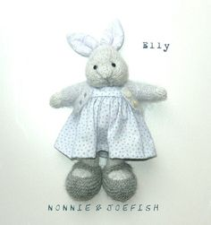 Elly is made with one strand of white Kidsilk Haze and one strand of pale grey Drops Alpaca making her soft and fluffy. Her dress is a cotton fabric in a very pale blue with slightly darker blue dots and her pale blue cardigan is Kidsilk Haze. Elly's shoes are grey NZ merino. Her shoes, dress...