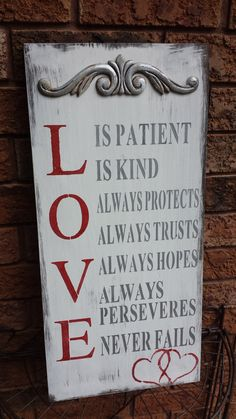 Love is Patient sign Cottage Signs, Love Is Patient, Rustic Cottage, Funny Signs, Wedding Signs, Gift Baskets, Vintage Furniture, Chalkboard, Valentines