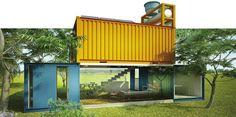 Contêineres viram casa prática e barata de 70 m²